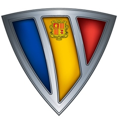steel shield with flag andorra vector image