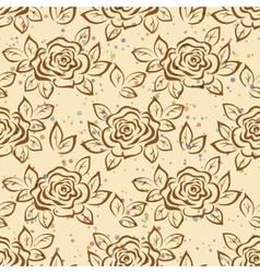 Seamless flowers rose contours vector