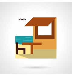 Beach rest flat color design icon vector