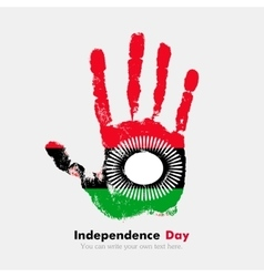 Handprint with the flag of malawi in grunge style vector