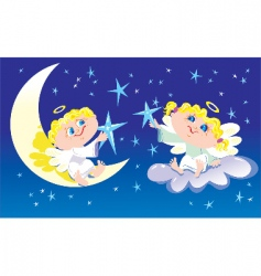 angels decorate the sky vector image