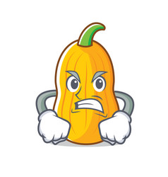 Angry butternut squash mascot cartoon vector
