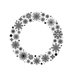 black silhouettes snowflakes set in circle vector image vector image