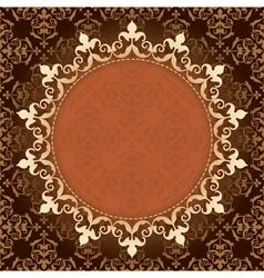 brown vintage background with gold frame vector image vector image