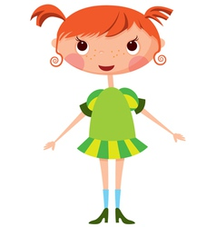 cartoon little girl vector image vector image