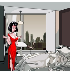 Cartoon surprised woman is standing in the bedroom vector
