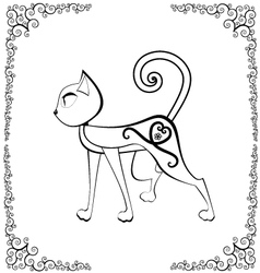 cat with tattoo vector image vector image