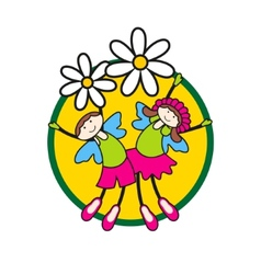 children on flowers vector image