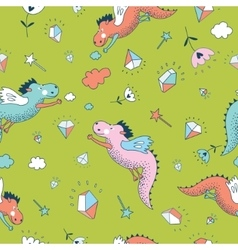 Cute seamless pattern Dragons and vector image vector image