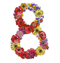Eight digit made of different flowers vector