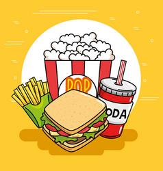 Fast food stickers pop art vector