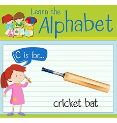 Flashcard letter c is for cricket bat vector