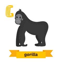 Gorilla G letter Cute children animal alphabet in vector image