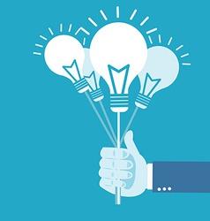 Hand holding idea balloon vector