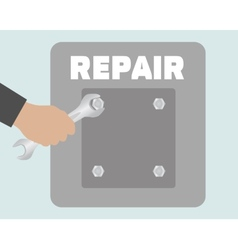 Hand with wrench repair icon vector