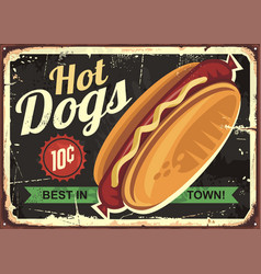 Hot dogs retro tin sign design vector