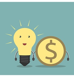Lightbulb and dollar together vector image vector image