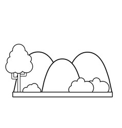 Line countains with tree and ecology landscape vector