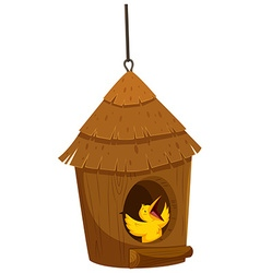 Little bird in the bird house vector