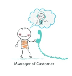 Manager of Customer talking on headphones with the vector image