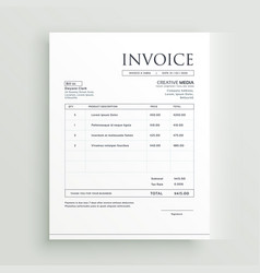 minimal clean invoice form template design vector image