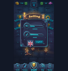 monster battle gui setting volume window vector image