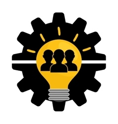 Pictogram gears bulb teamwork support design vector