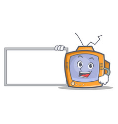 Pose with board tv character cartoon object vector