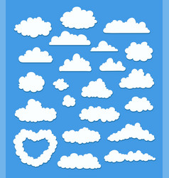 set of cartoon clouds on blue vector image
