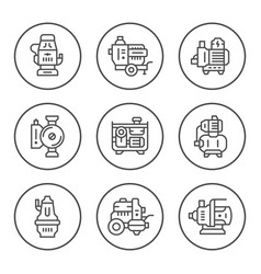 Set round line icons of water pump vector
