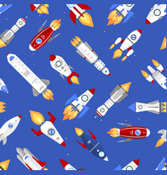 technology ship rocket cartoon seamless vector image