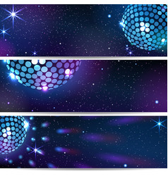 three horizontal disco backgrounds vector image