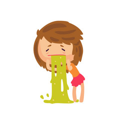 unhappy girl vomiting from food poisoning cartoon vector image