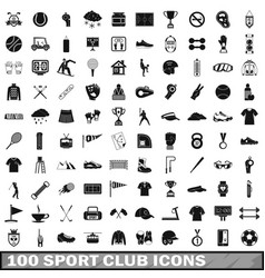 100 sport club icons set simple style vector