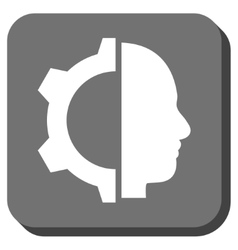 Cyborg gear rounded square icon vector