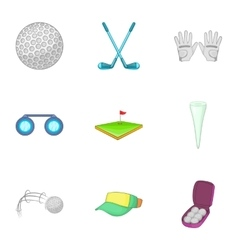 Active golf icons set cartoon style vector