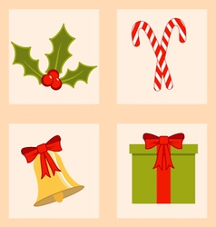 Colorful set of christmas icons vector