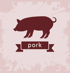 Pig silhouette with ribbon vector
