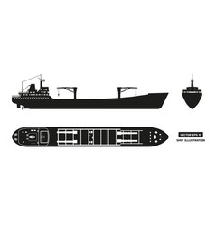 silhouette of cargo ship on a white background vector image