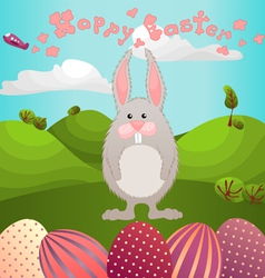 Easter greeting with fluffy rabbit vector