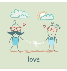 Loving girl and the guy holding the thread vector