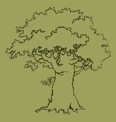 Old oak with a green crown vector image