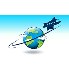 A globe and a plane vector