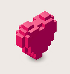 3d pixel heart icon vector image