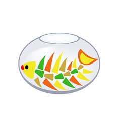 Skeleton of a fish in an aquarium vector