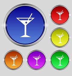 Cocktail martini alcohol drink icon sign round vector
