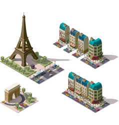 Isometric paris architecture elements vector