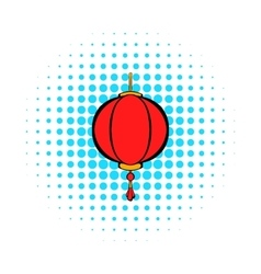 Red chinese lantern icon comics style vector