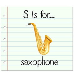 Flashcard letter s is for saxophone vector