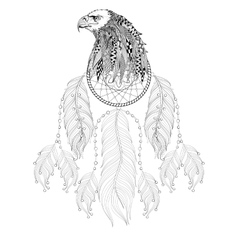 Hand drawn zentangle dreamcatcher with eagle head vector